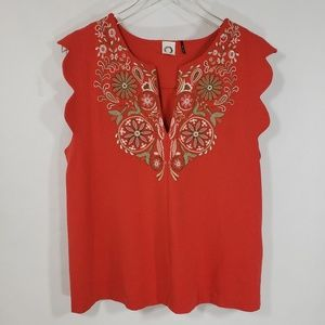Akemi + Kin Anthropologie Binah Scalloped Top Sz L